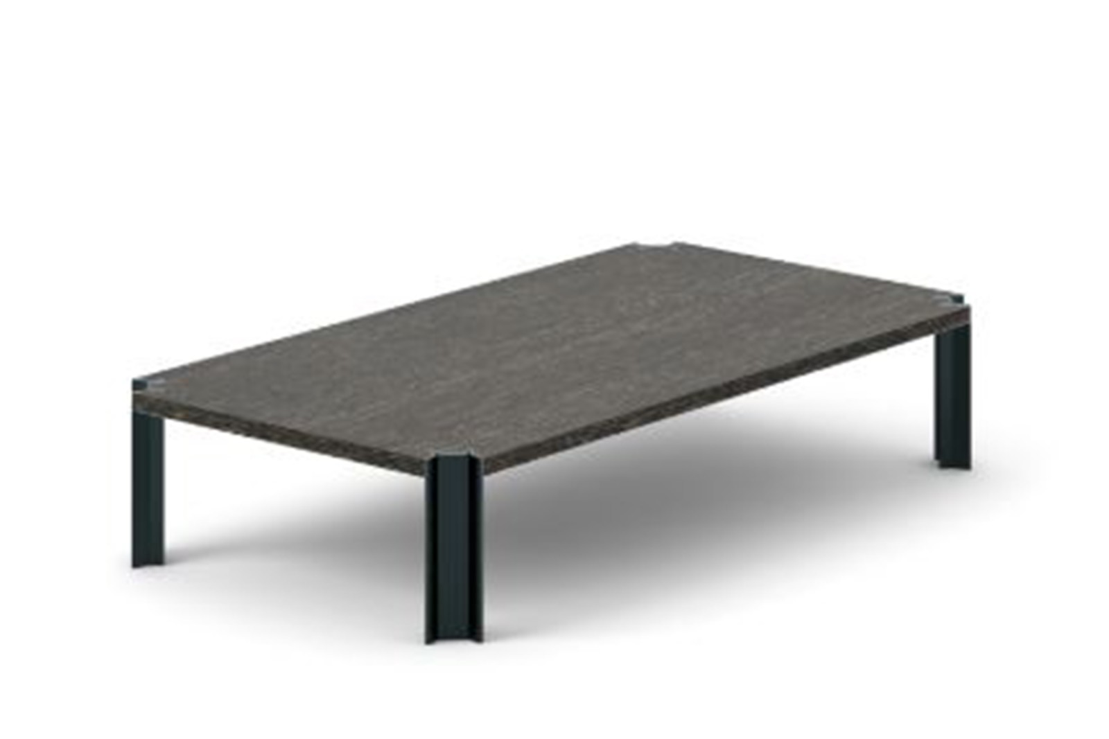 Crossing Coffee Table, Rectangular Dark Grey Stained Oak, Black Anodised Aluminium, 200cm