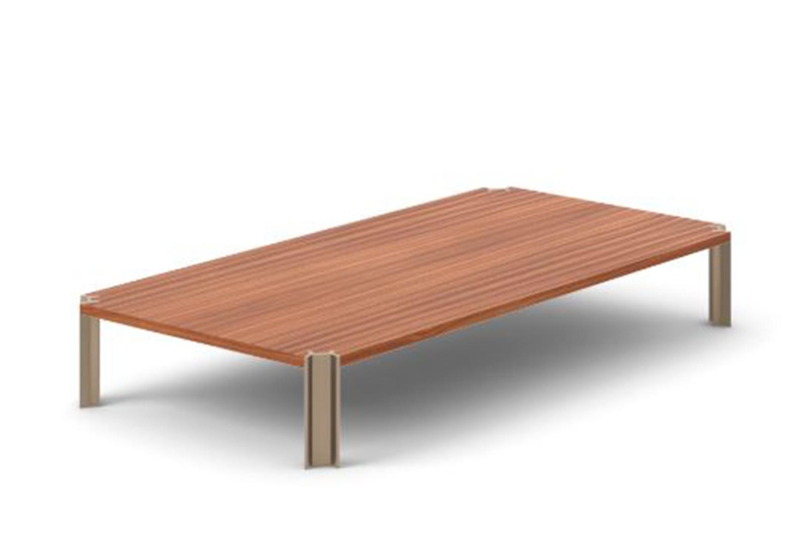 Crossing Coffee Table, Rectangular Super-matt Walnut, Bronze Anodised Aluminium, 200cm