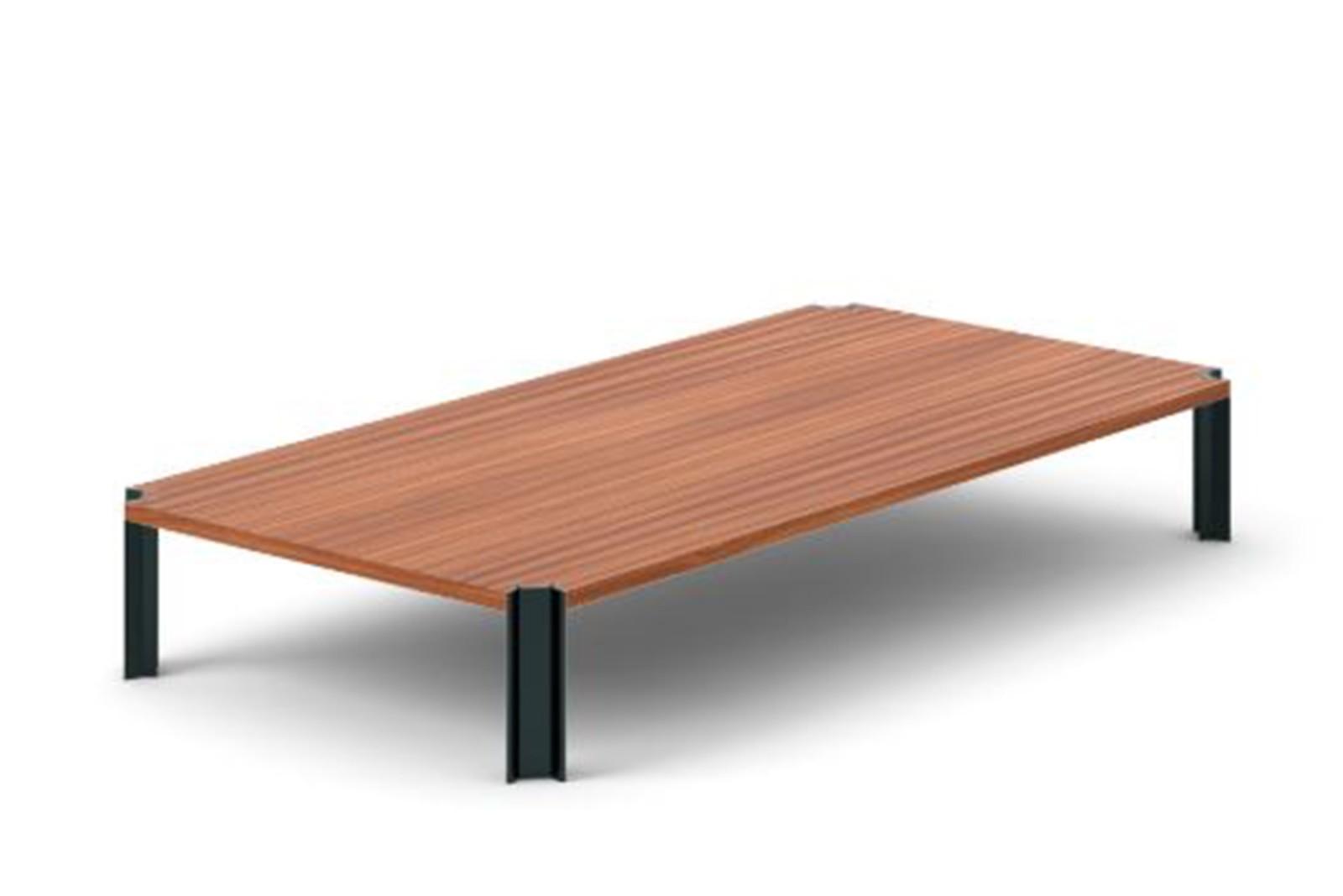 Crossing Coffee Table, Rectangular Super-matt Walnut, Black Anodised Aluminium, 200cm