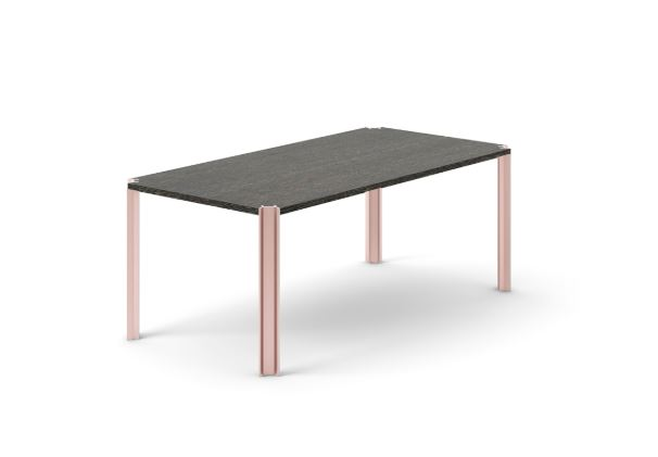 Crossing Dining Table, Rectangular Dark Grey Stained Oak, Pale Rose Anodised Aluminium, 150cm