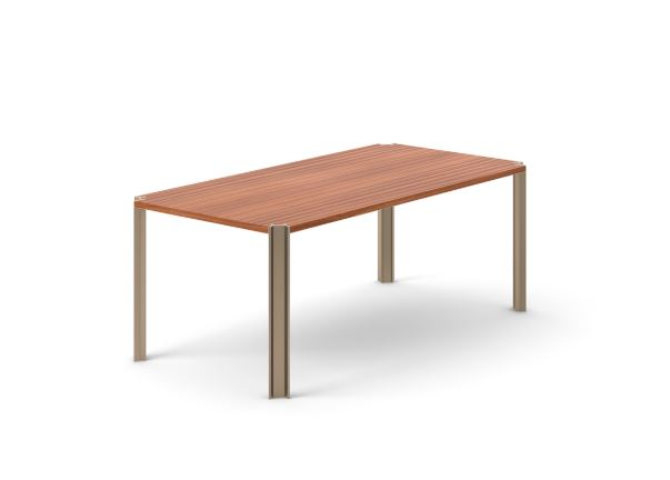 Crossing Dining Table, Rectangular Super-matt Walnut, Bronze Anodised Aluminium, 150cm