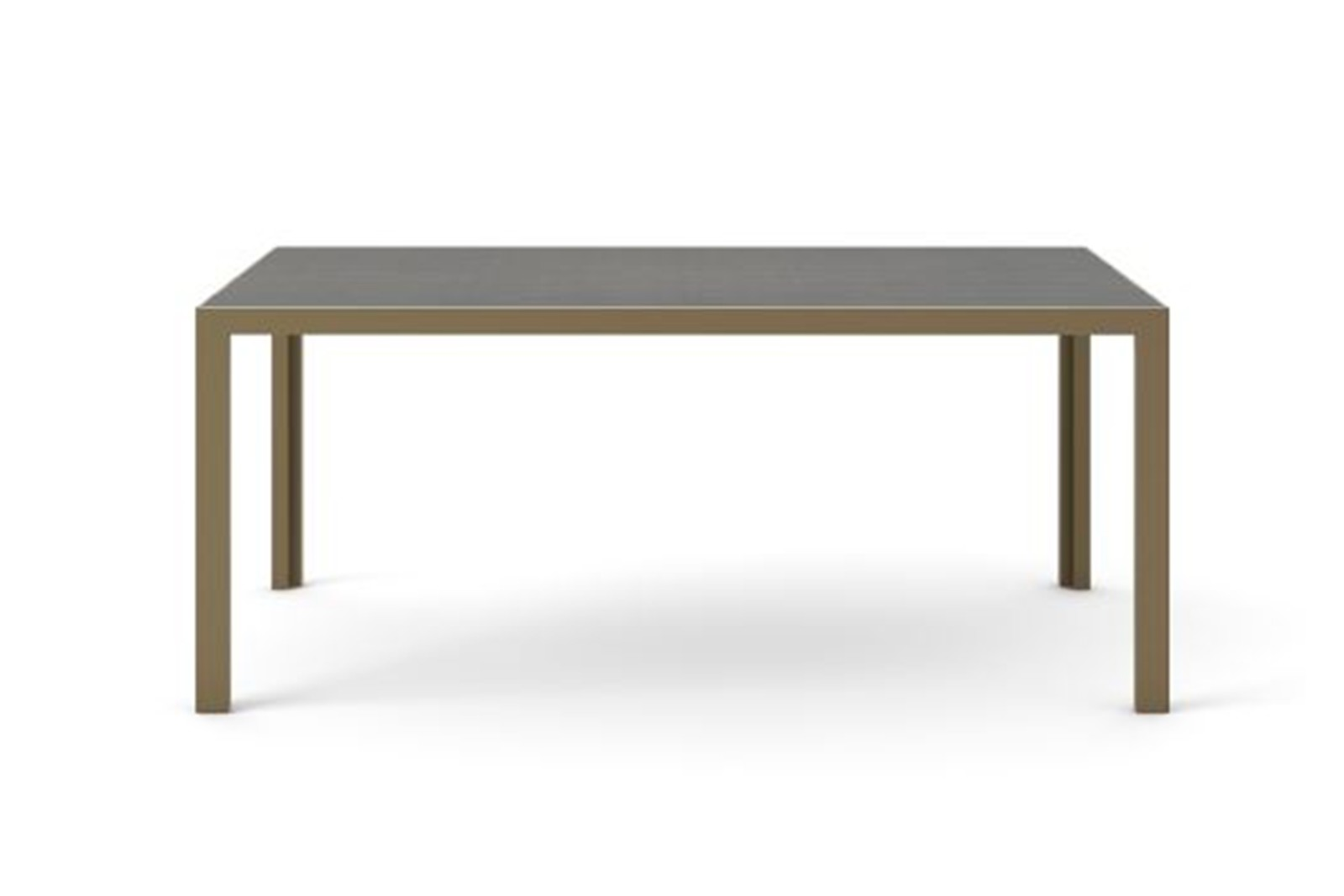 Dénia Dining Table, Rectangular Bronze Anodised Aluminium, Dark Grey Stained Oak, 200