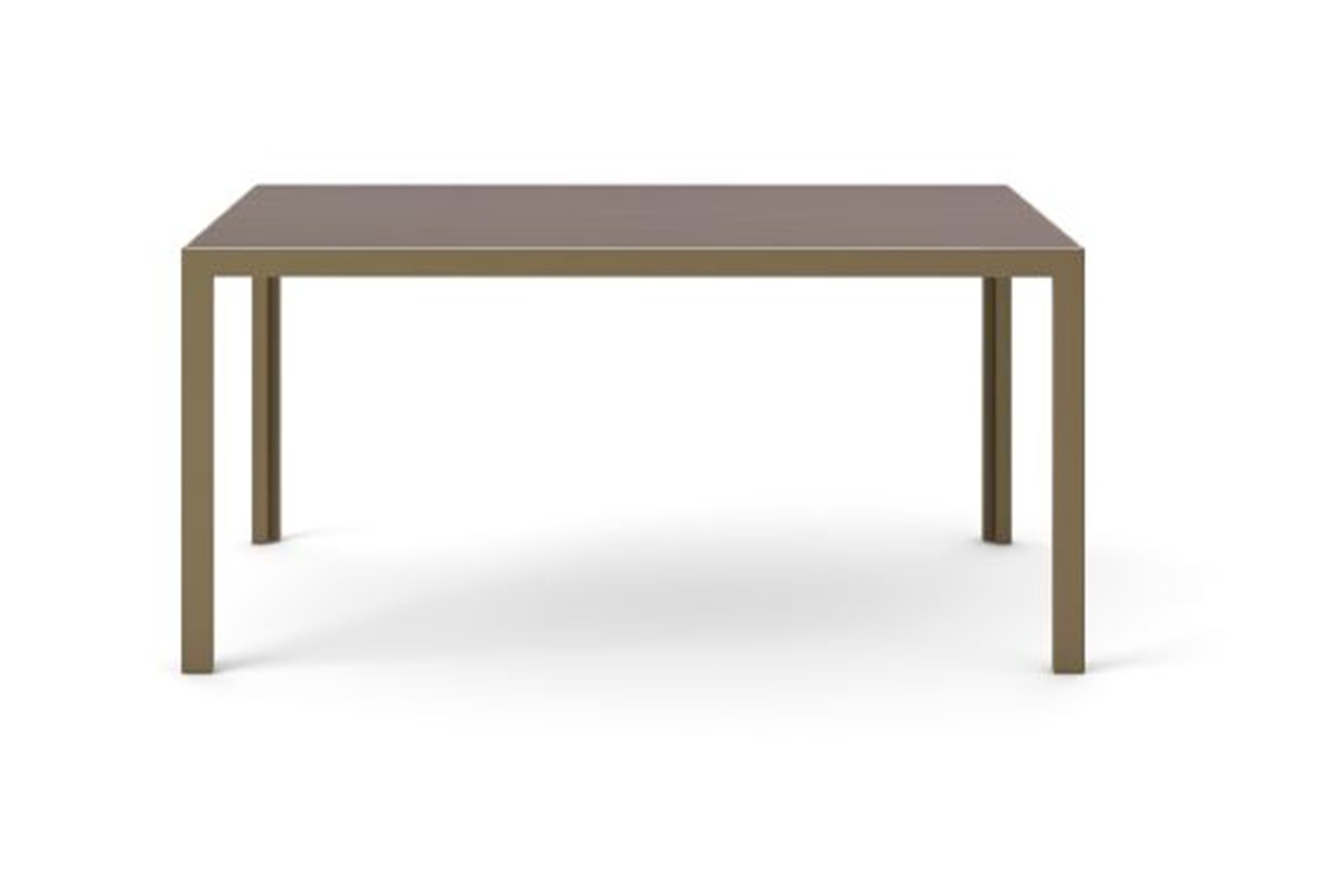 Dénia Dining Table, Rectangular Bronze Anodised Aluminium, Dark Stained Walnut, 200