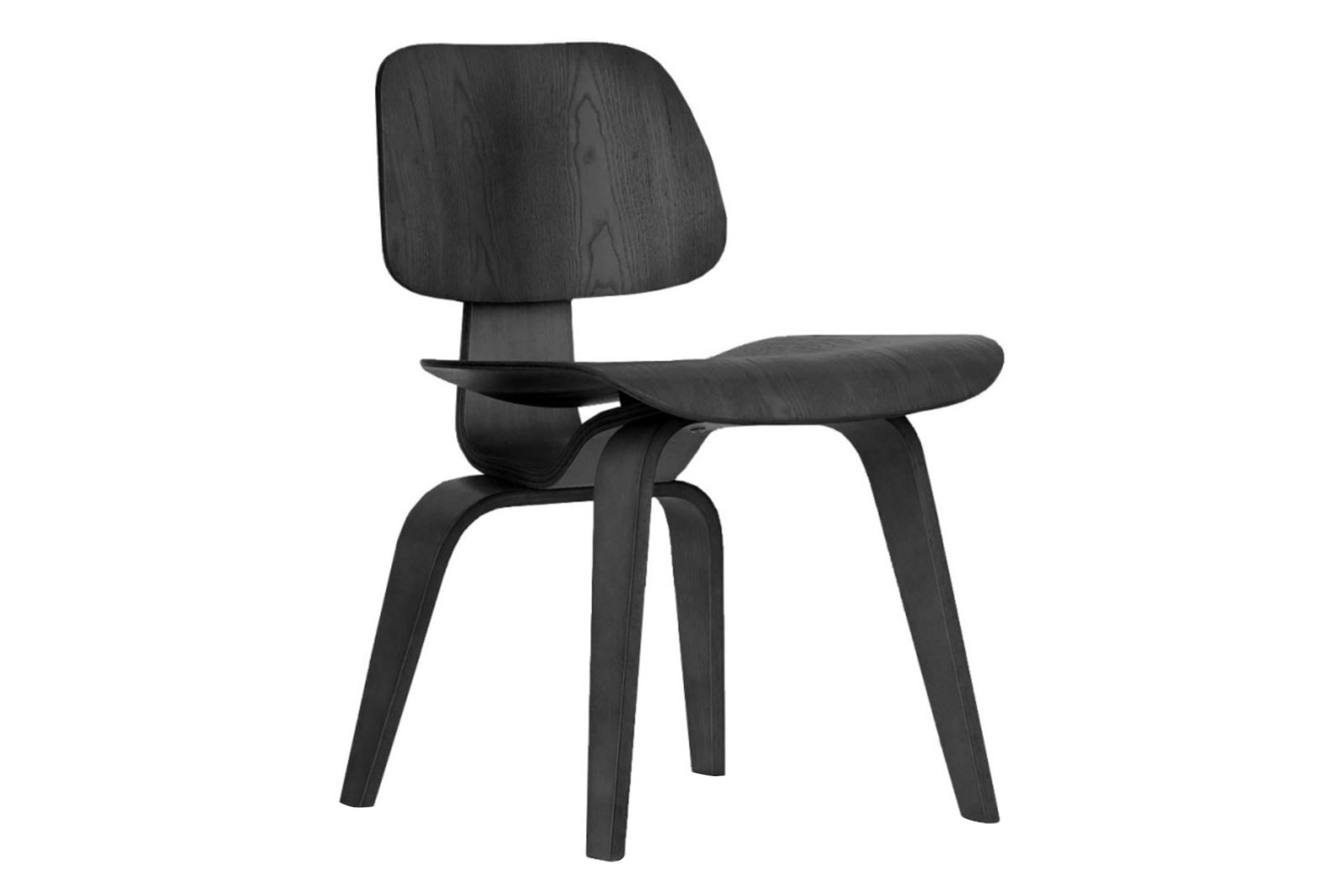 DCW Dining Chair 68 black ash, 04 glides for carpet