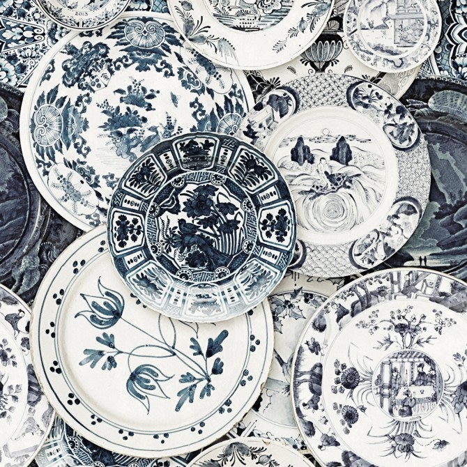 Delftware Vintage Wallpaper