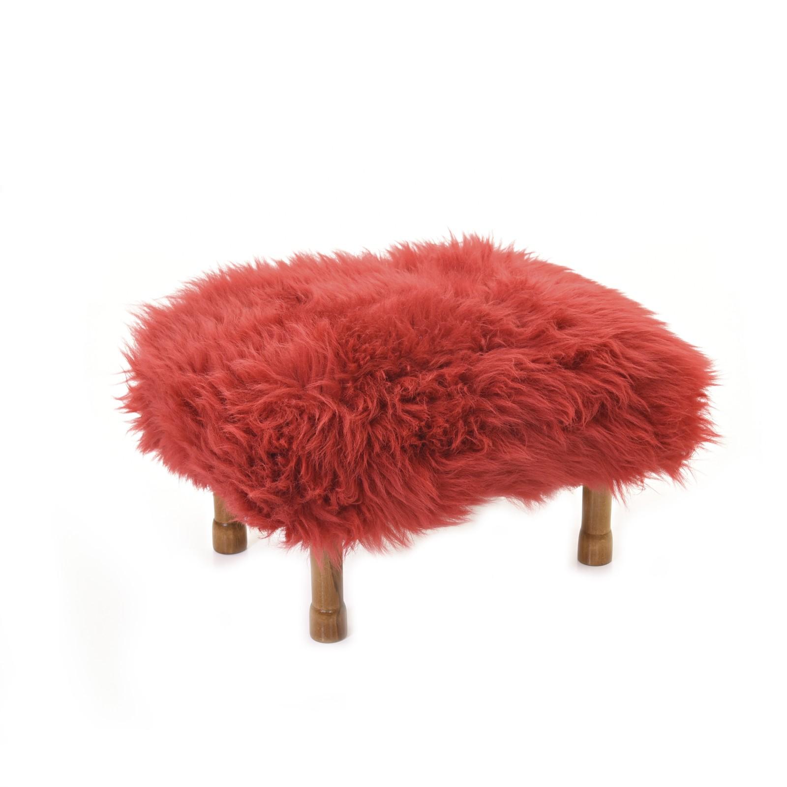 Delyth - Sheepskin Footstool Dragon Red
