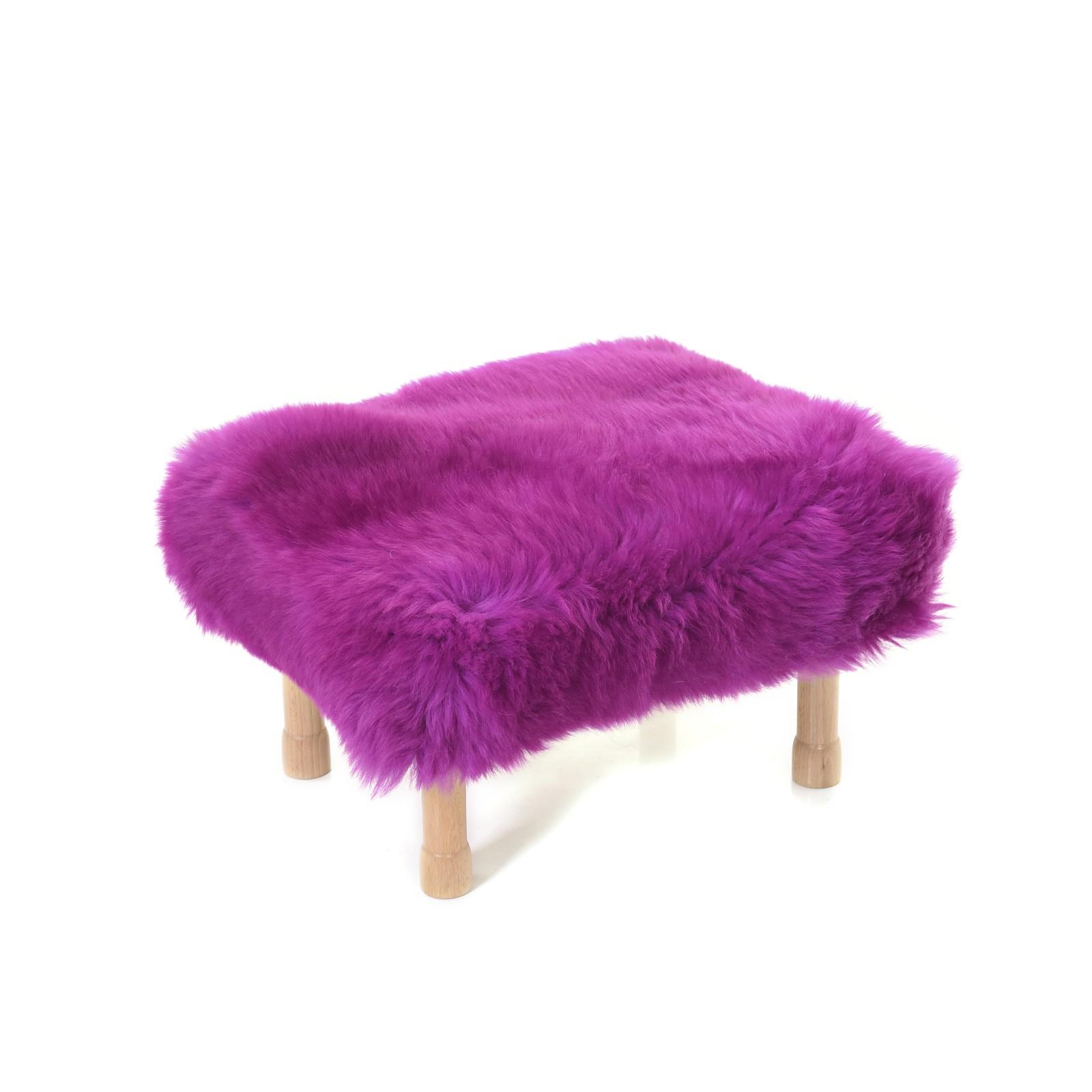 Dilys - Sheepskin Footstool Cerise