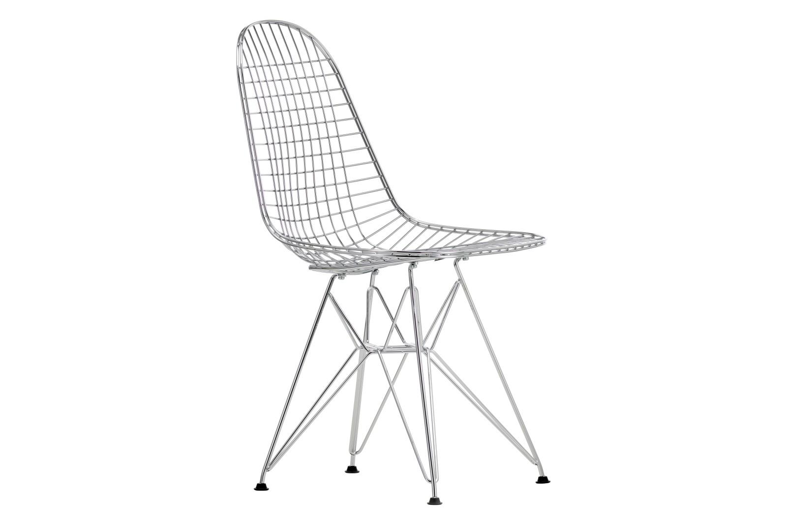 DKR Wire Dining Chair 01 chrome, 04 basic dark for carpet
