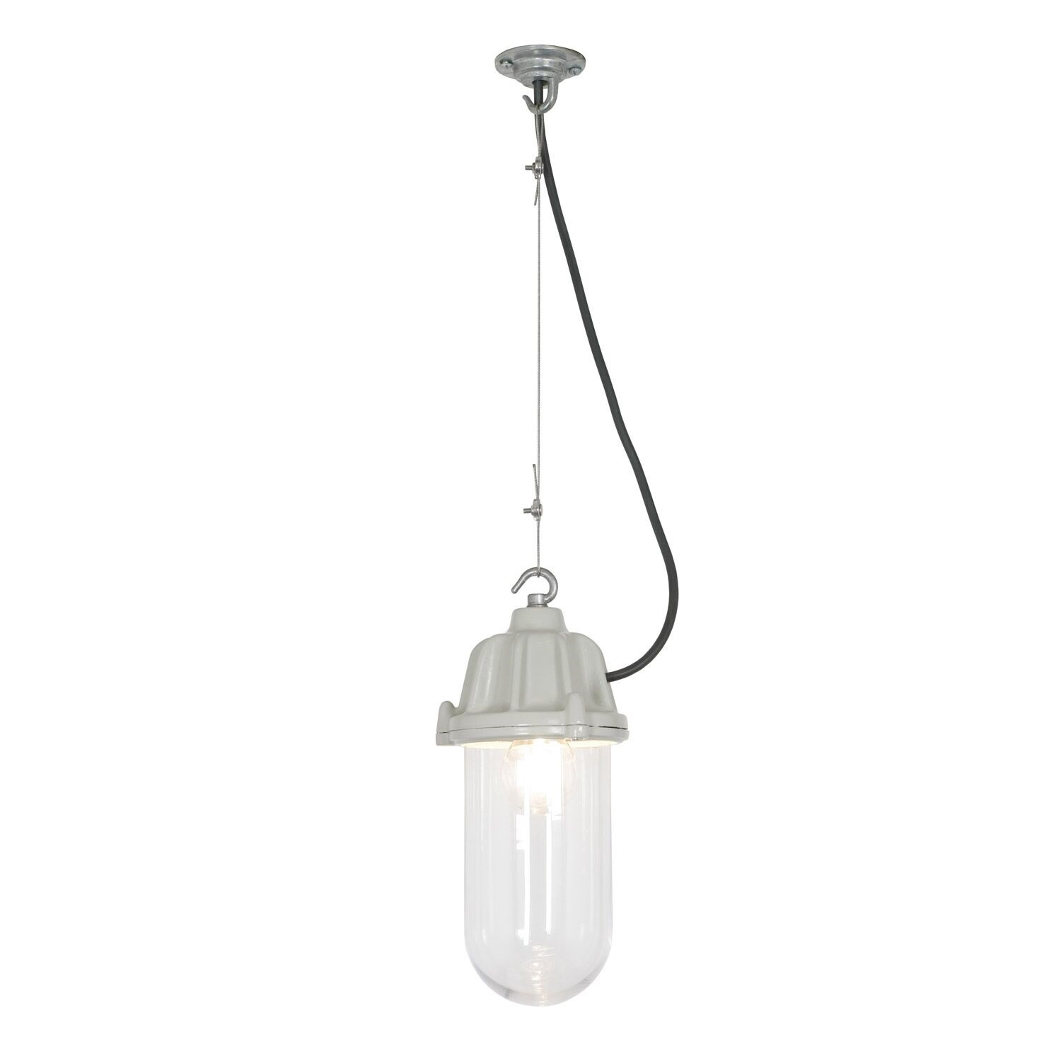 Dockside Pendant Light 7674 Putty grey, Clear glass