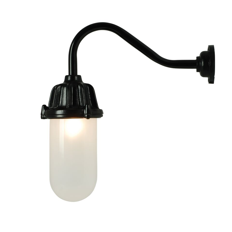 Dockside Wall Light 7674 Black, Frosted glass