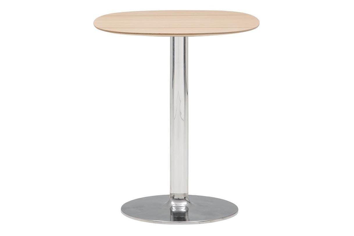Dual Ellipse Cafe Table Set of 2 Polished Aluminium, Wood finish Oak 306
