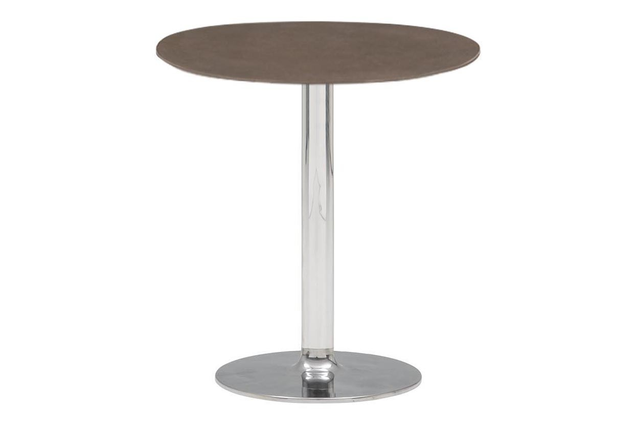 Dual Round Café Table Set of 2 Polished Aluminium, Stone Finish Earth Brown