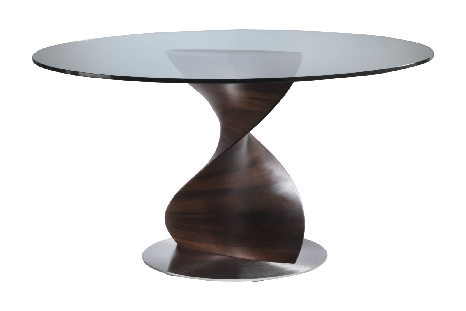 Elika Dining Table, Round Canaletta Walnut, 130cm