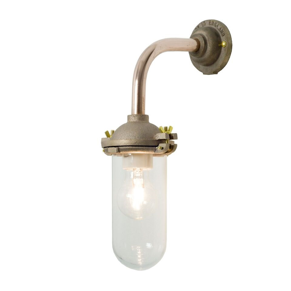Exterior Bracket Light, Right Angle, Round 7684 Gunmetal, Clear Glass