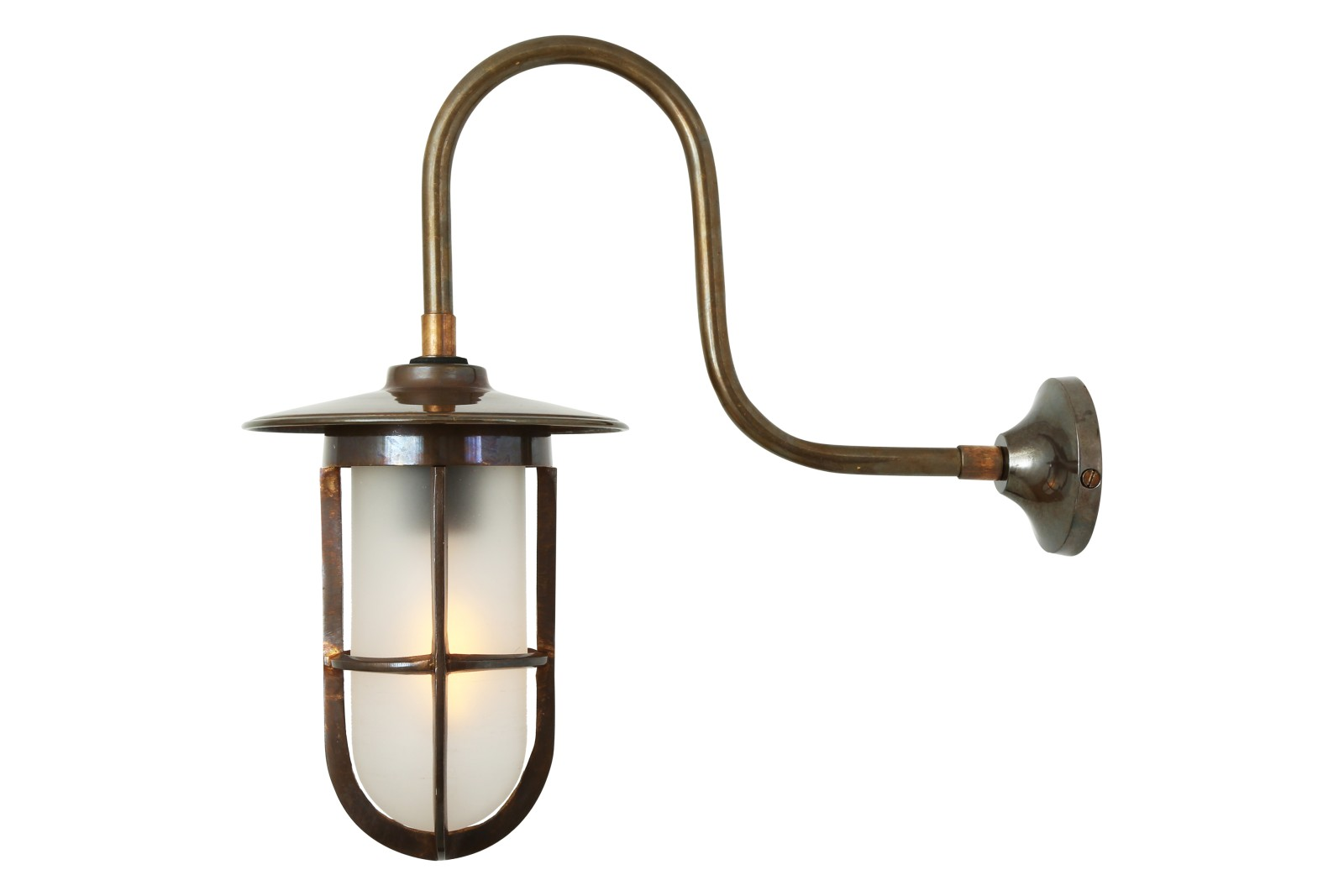 Fabo Well Glass Wall Light Antique Brass, Frosted Glass