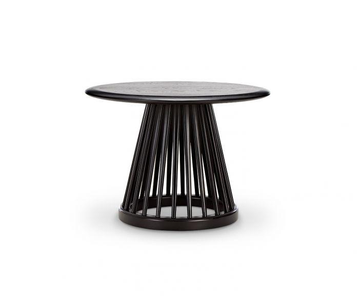 Fan Table Black Base, Black Oak Top, 60cm