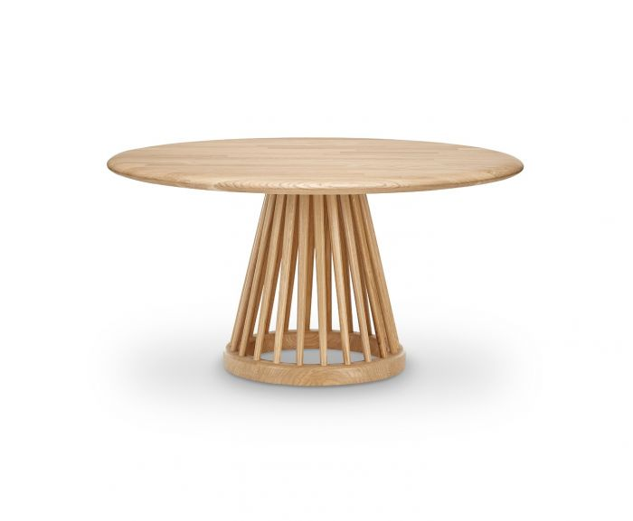Fan Table Natural Base, Natural Oak Top, 90cm