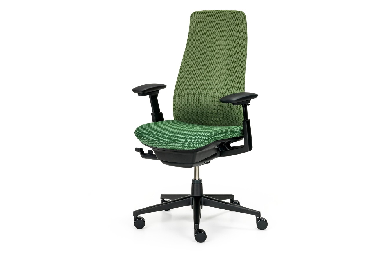 Fern Task Chair with Armrests Standard Armrests, F0, Black plastic and structure, soft castor