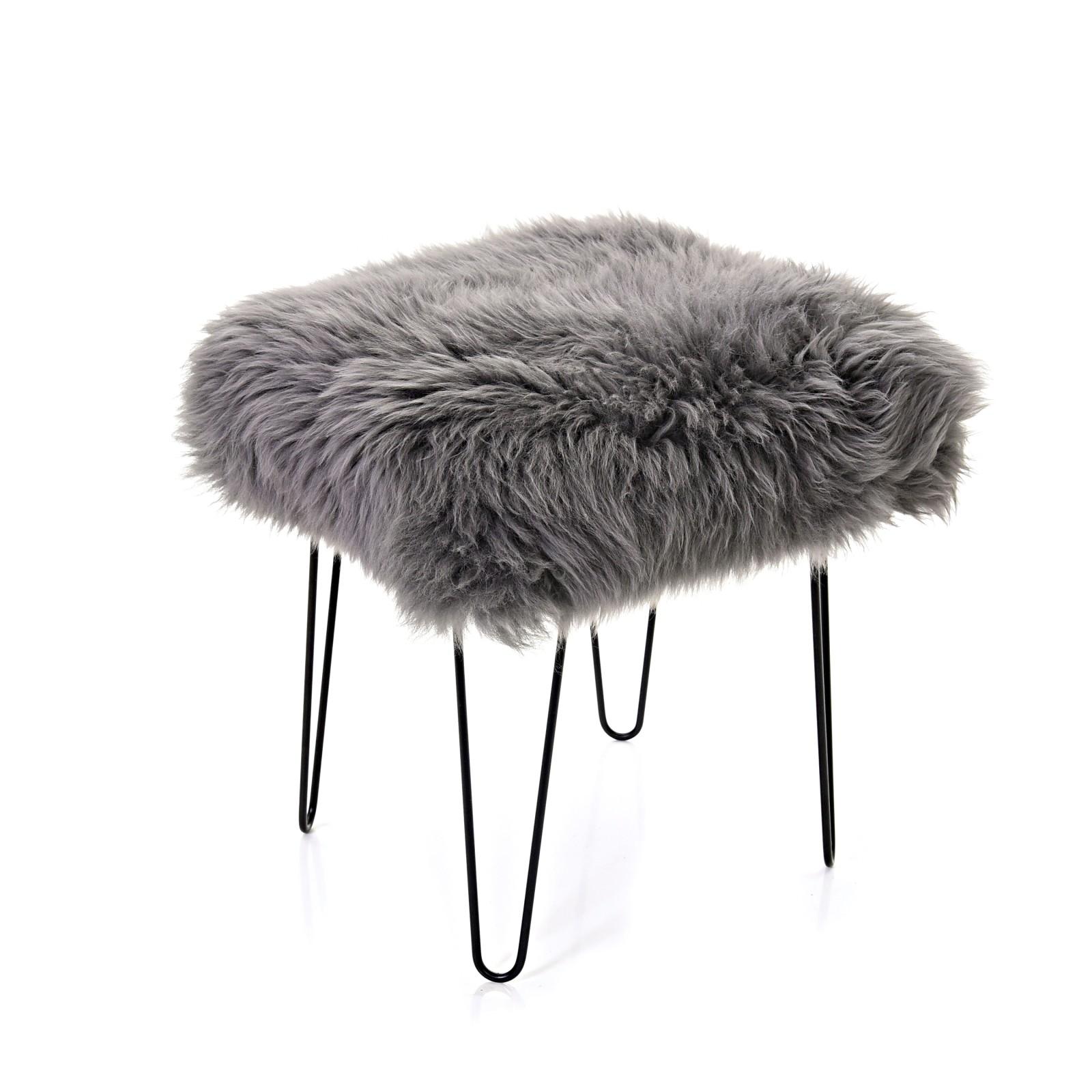 Ffleur - Sheepskin Footstool Slate Grey