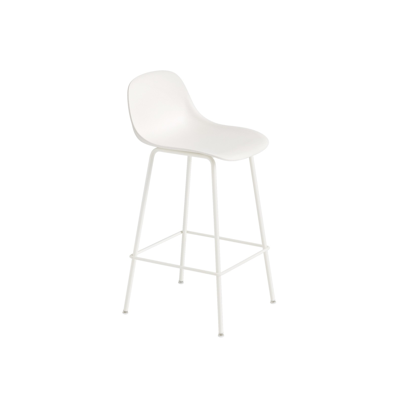 Fiber Bar Stool With Backrest Tube Base Natural White/White, 65