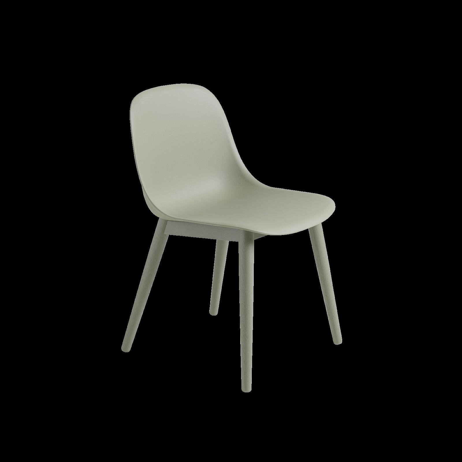 Fiber Side Chair Wood Base Dusty Green/Dusty Green