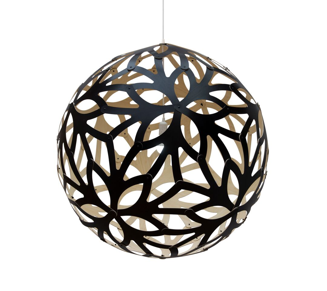 Floral Pendant Light Black 1 Outside, 80cm