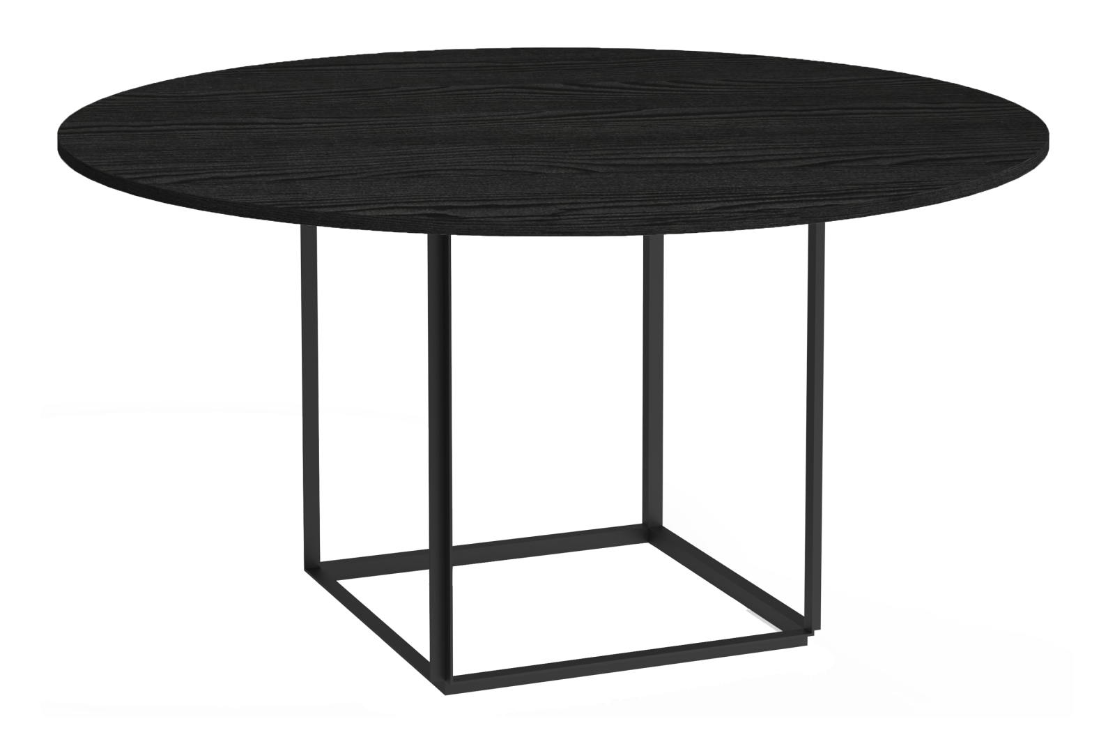 Florence Dining Table Ø145 Iron Black Frame, Black Stained Ash Table Top
