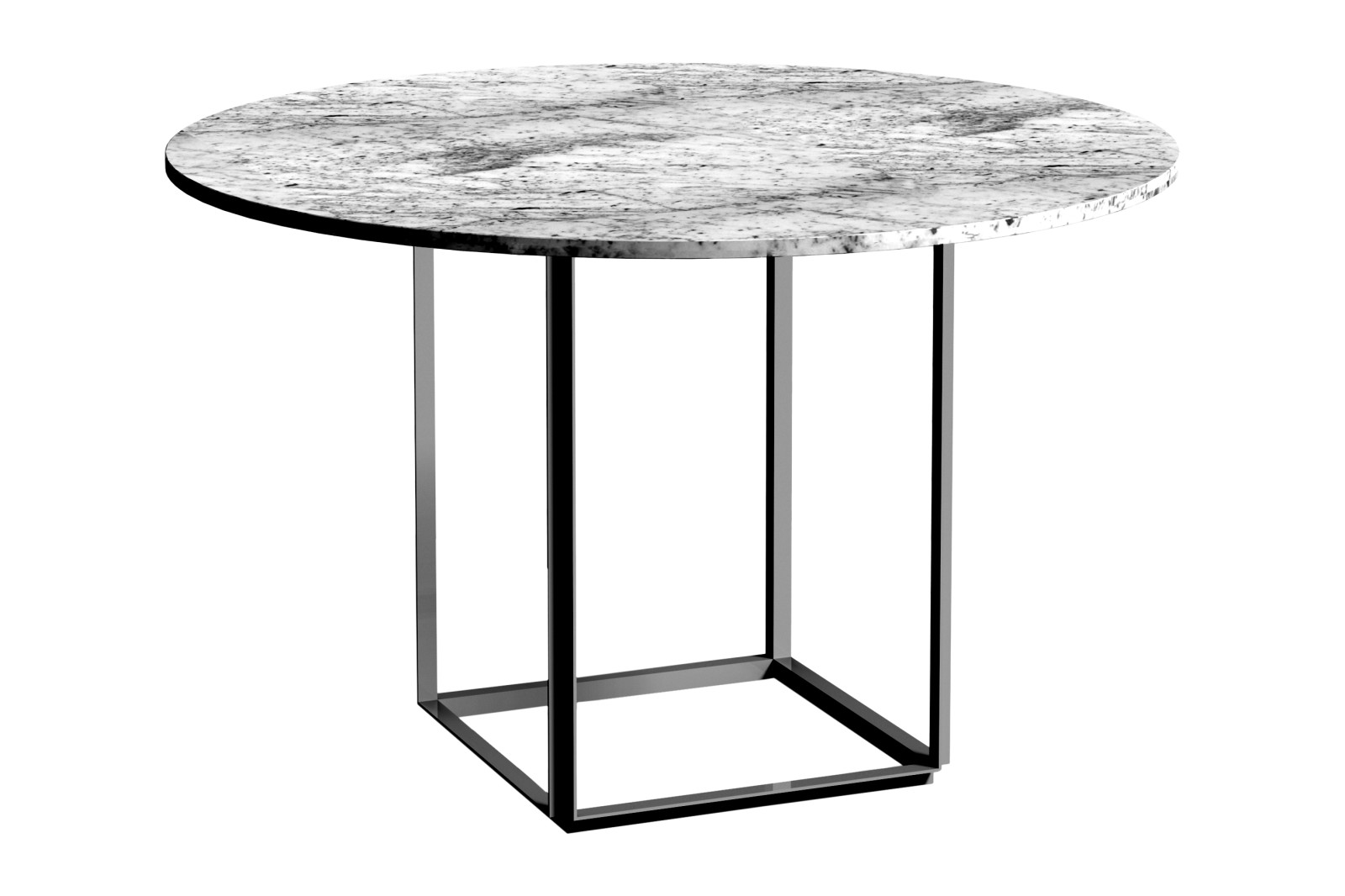 Florence Dining Table Ø120 Metallic White Frame, Grey Ruivina Marble Table Top