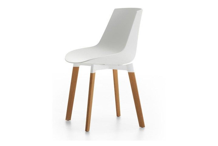 Flow Chair Color, 4 Legs Base Cross, Coupling Device - Soft Touch Natural, White