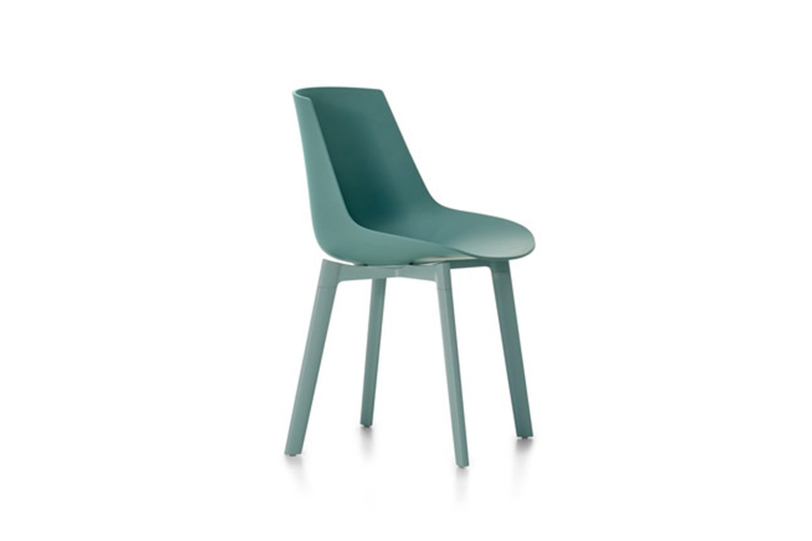 Flow Chair Color, 4 Legs Base Cross - Soft Touch Green