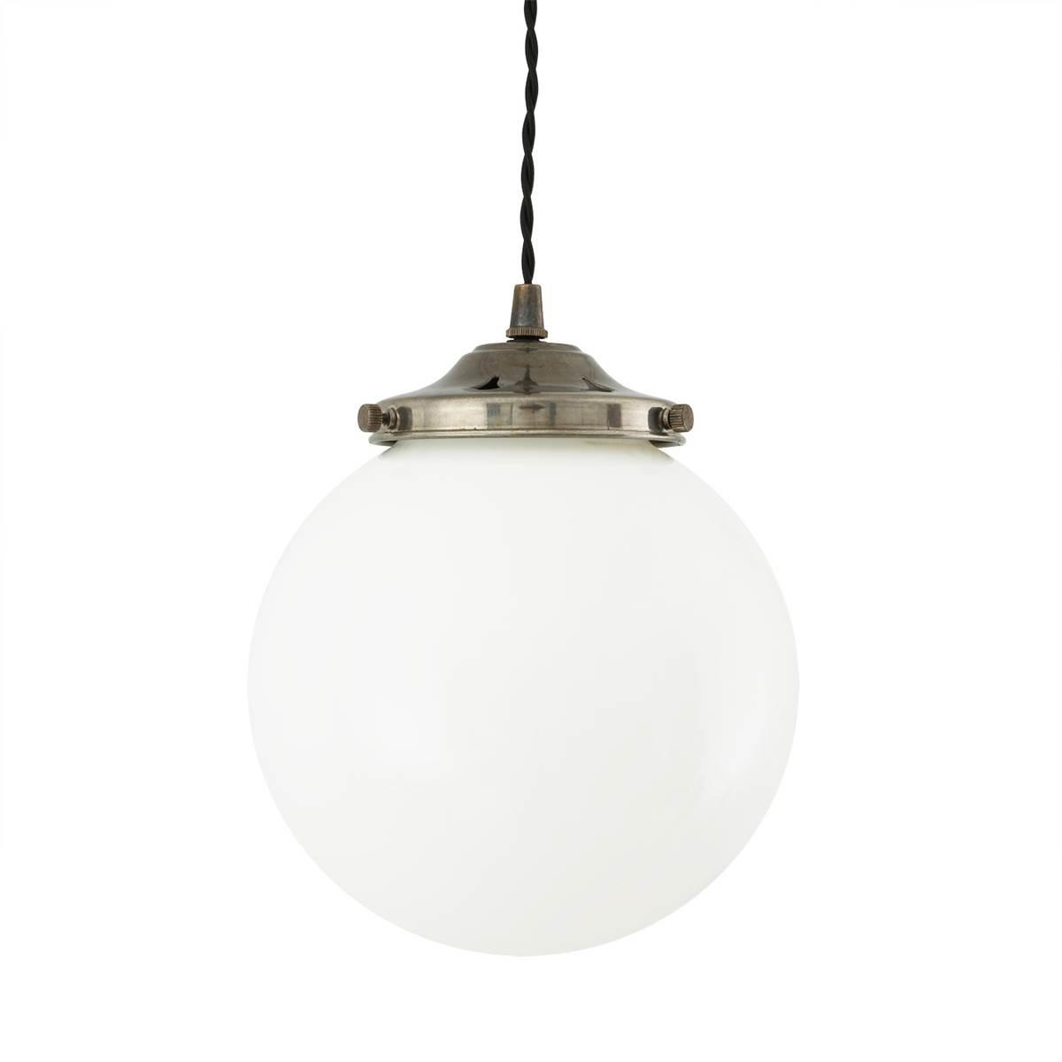 Gentry Opal Globe Pendant Light, 20cm Antique Silver
