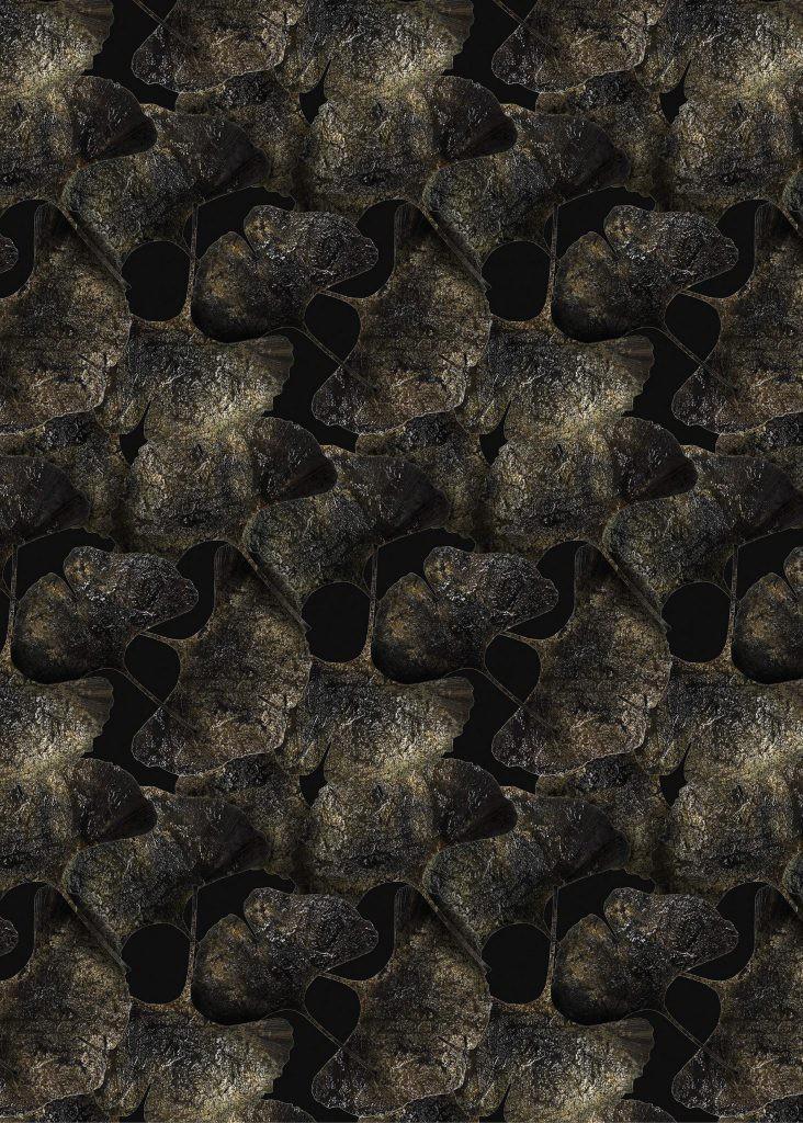 Ginko Leaf Rug, Rectangular Black, Polyamide, 300x400 cm
