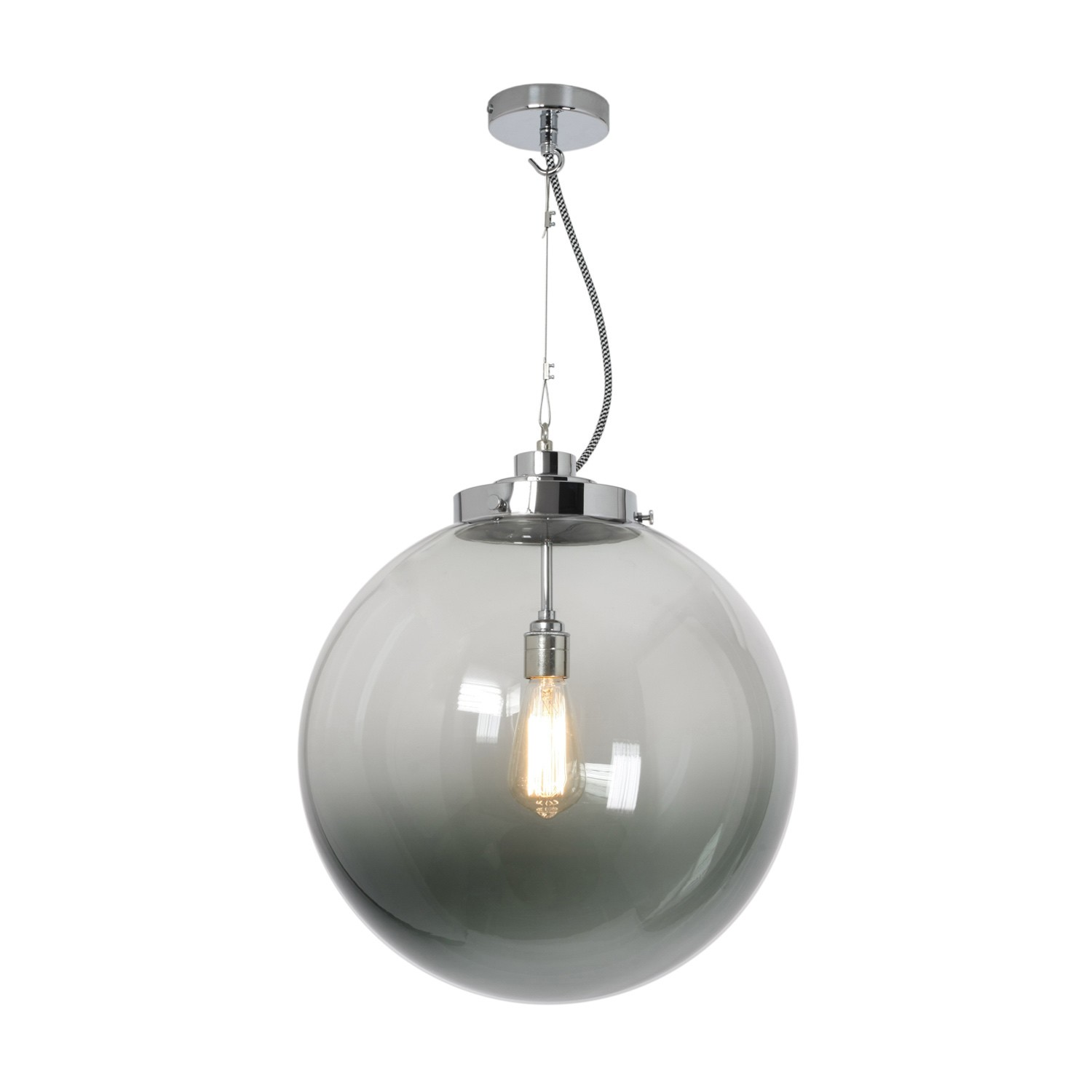 Globe Pendant Light Anthracite and Chrome, Large