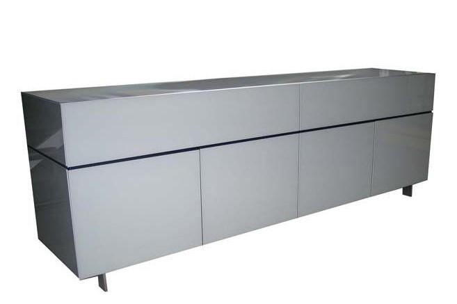 Globo Sideboard 2 with Cast Aluminium Legs Blue Mirror