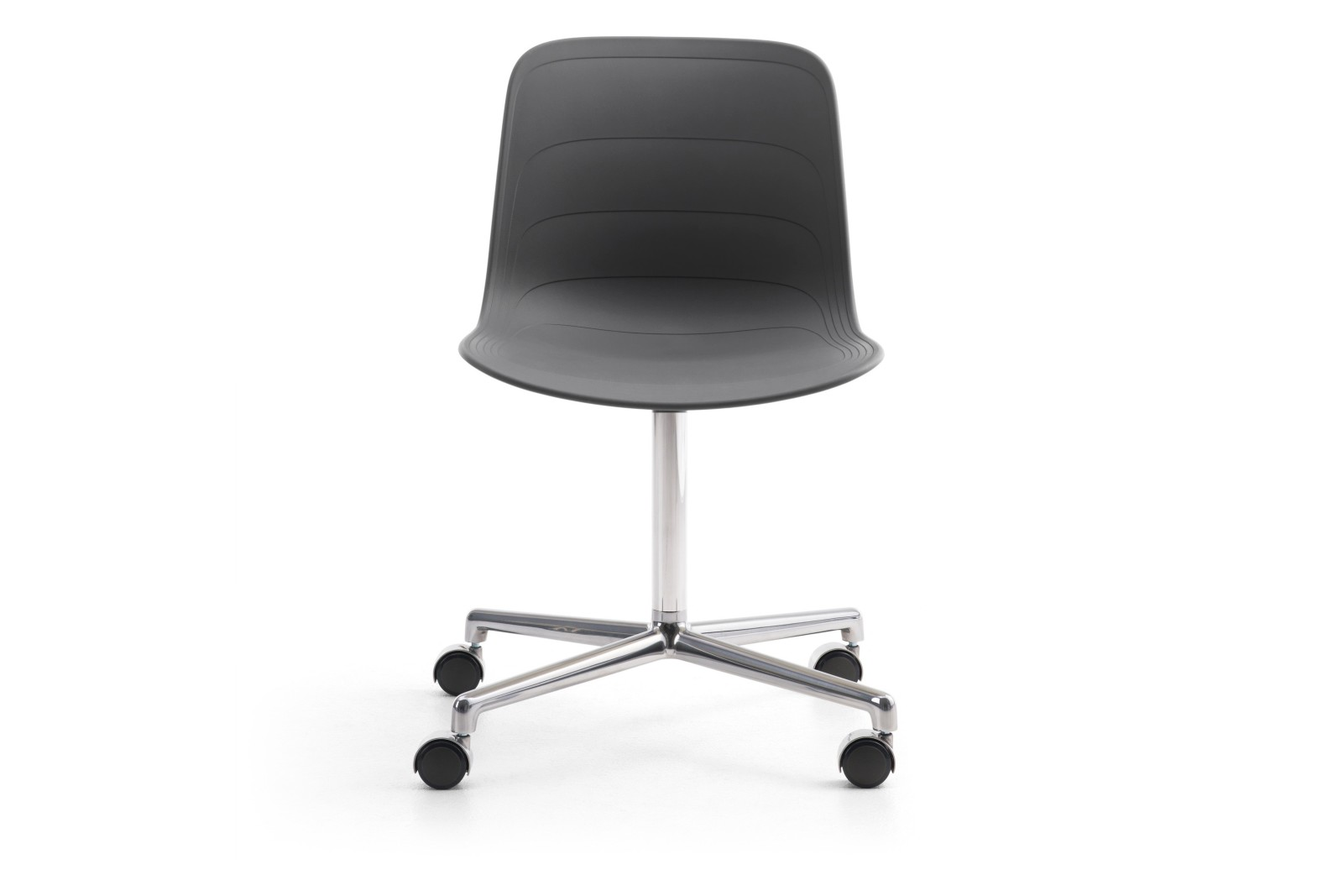 Grade Swivel Chair Polished 4 Star Base on Castors White/Grey 895 RAL 9002