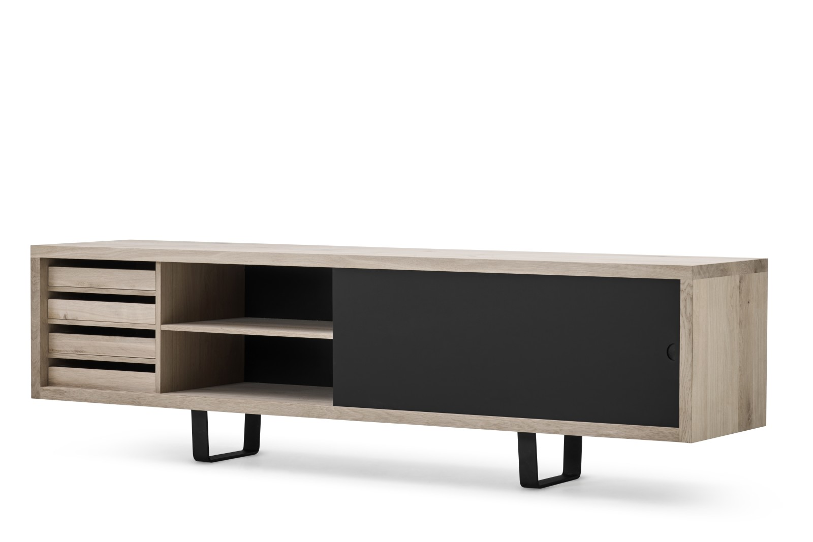 Grand Sideboard Oak Oil Treatment, Nano Black 0720, 240cm, Clear Lacquered Steel
