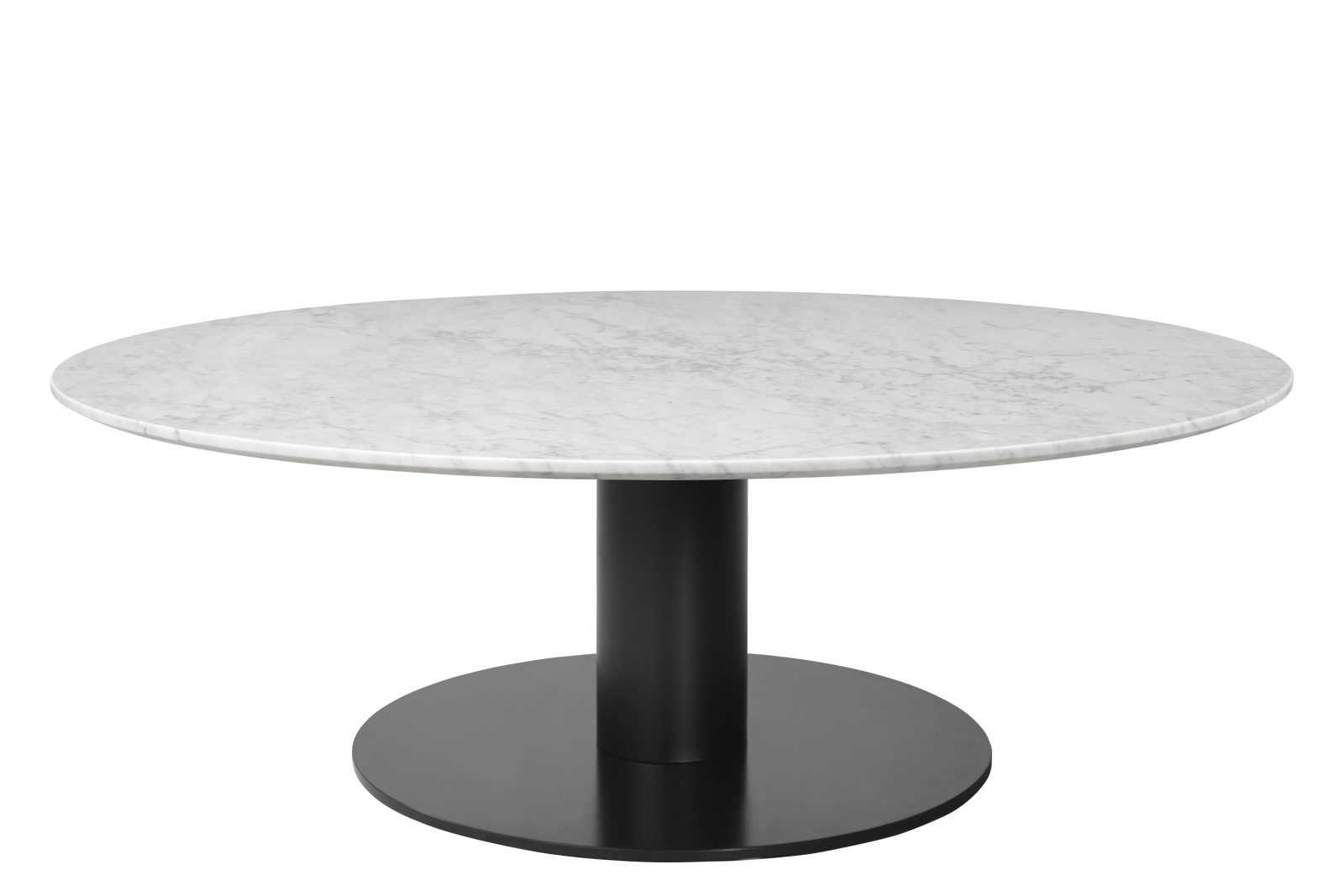 Gubi 2.0 Round Coffee Table Marble Bianco Carrara, Gubi Metal Black, Ø130