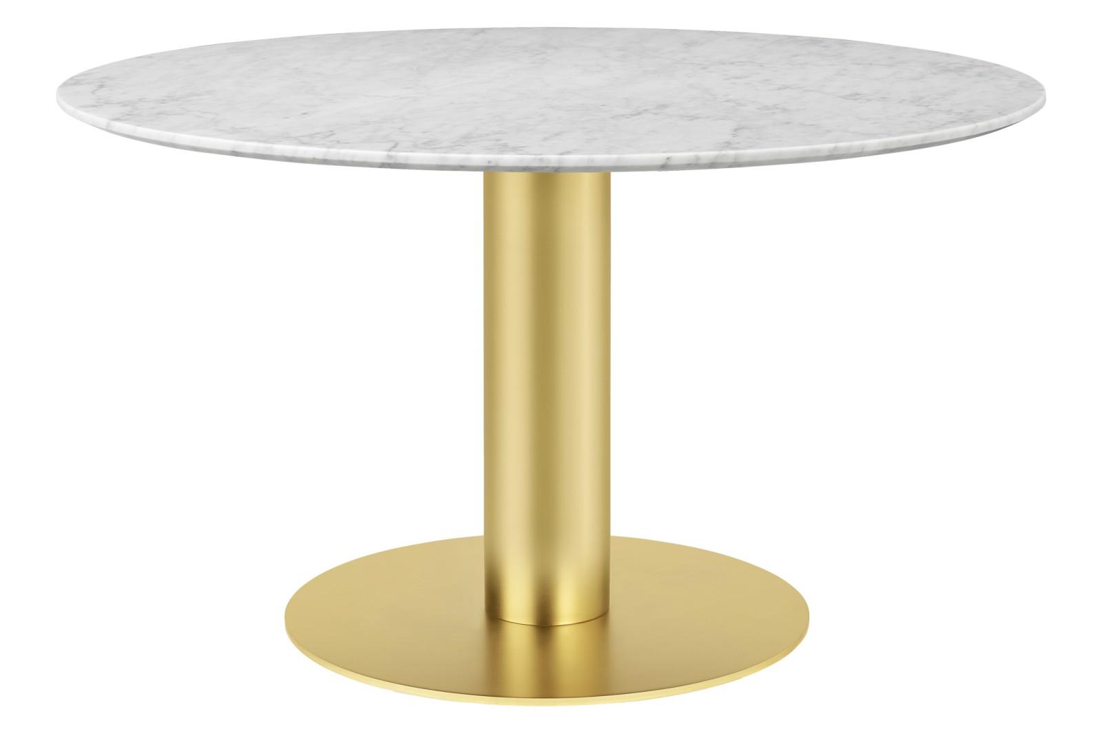 Gubi 2.0 Round Dining Table - Marble Gubi Metal Brass, Gubi Marble Bianco Carrara, Ø130