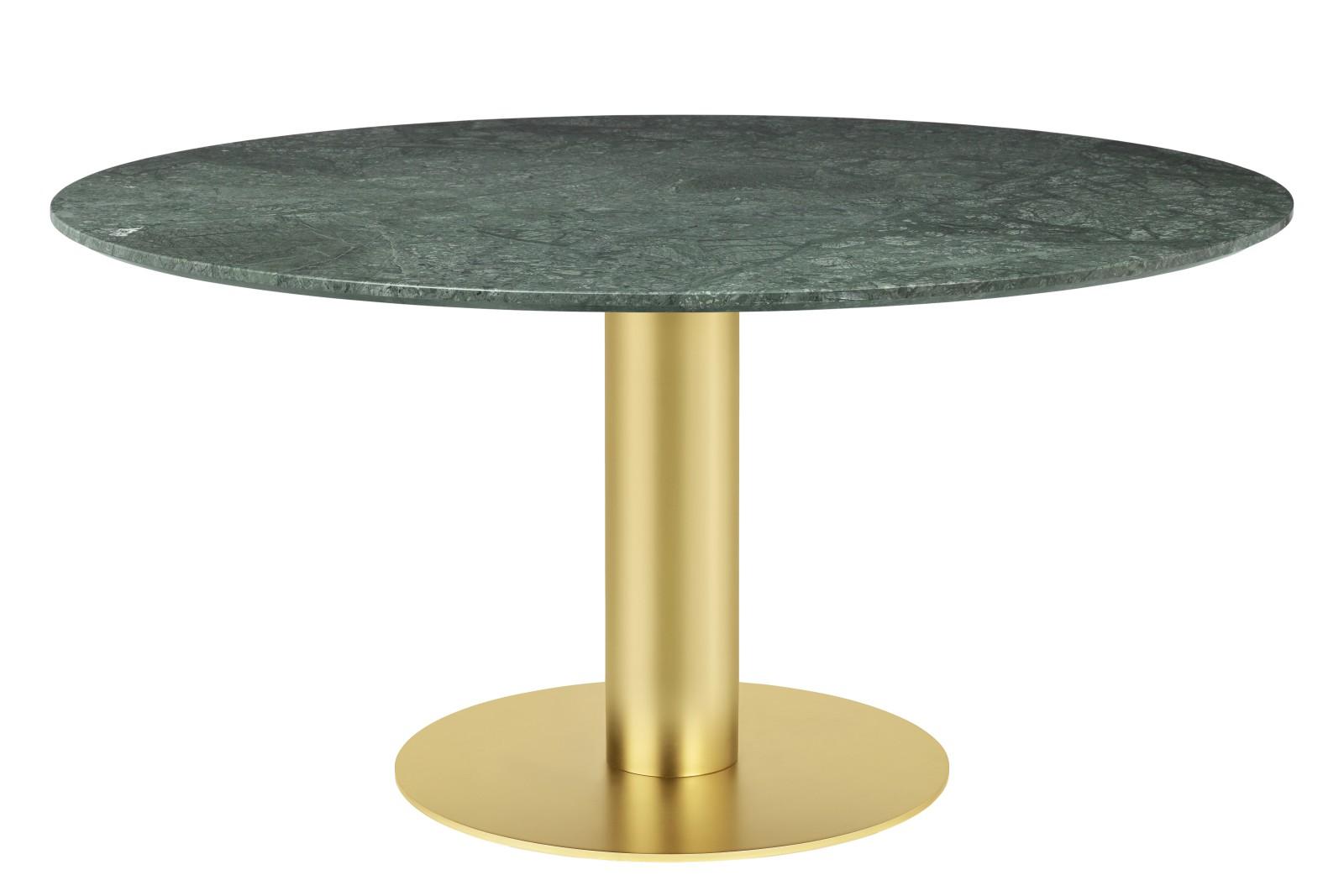 Gubi 2.0 Round Dining Table - Marble Gubi Metal Brass, Gubi Marble Verde Guatemala, Ø150