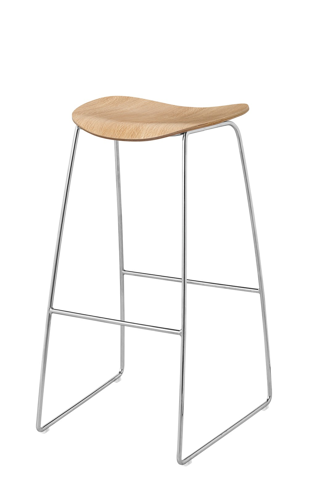 2D Bar Stool - Un-Upholstered, Sledge Base Gubi Wood Oak, Gubi Metal Chrome, Felt Glides