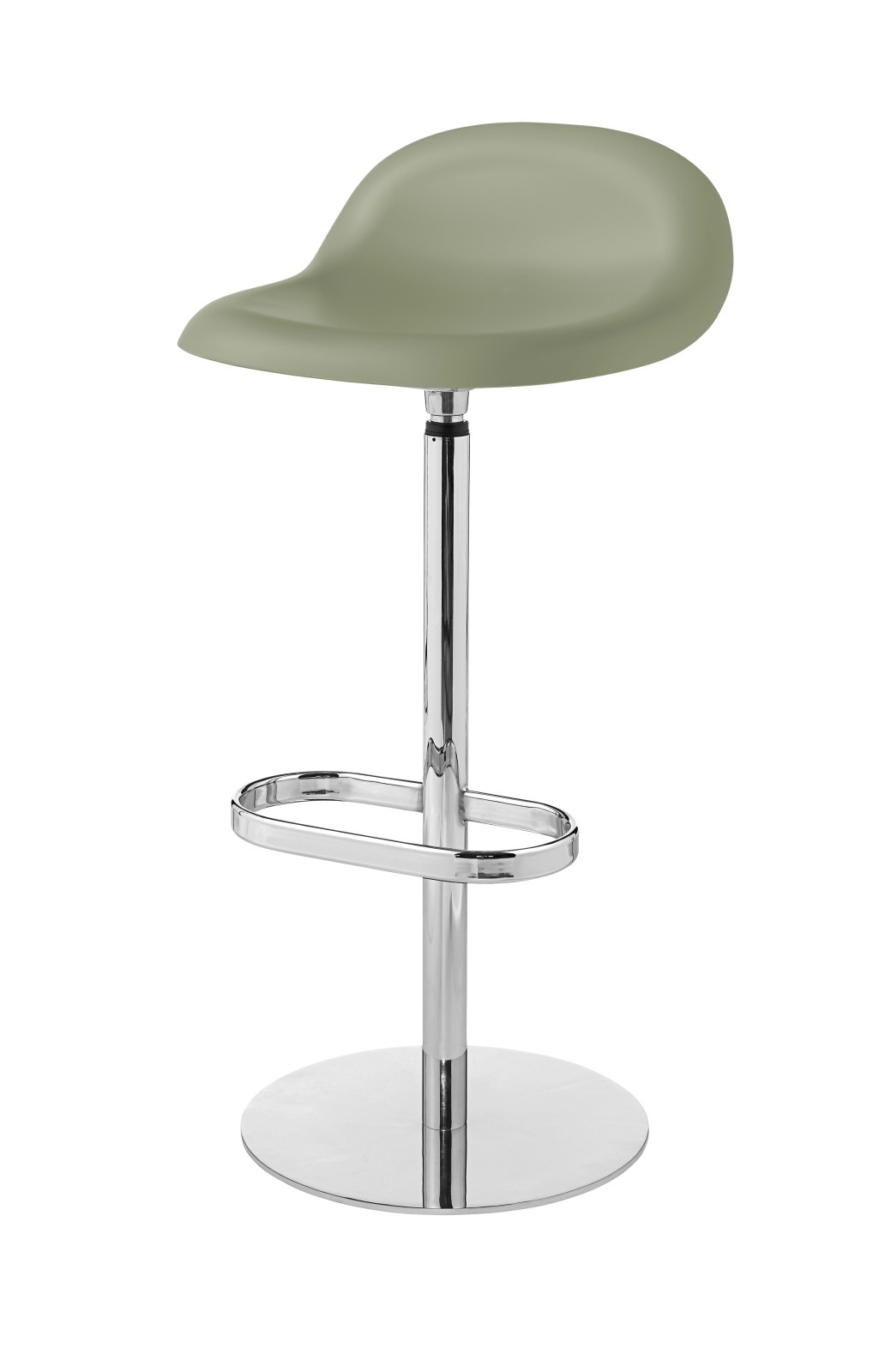3D Bar Stool - Un-Upholstered, Returning Swivel Base Gubi HiRek Mistletoe Green