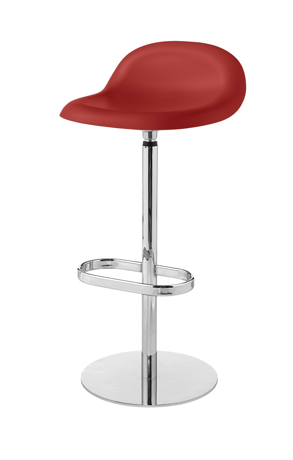 3D Bar Stool - Un-Upholstered, Returning Swivel Base Gubi HiRek Shy Cherry Red