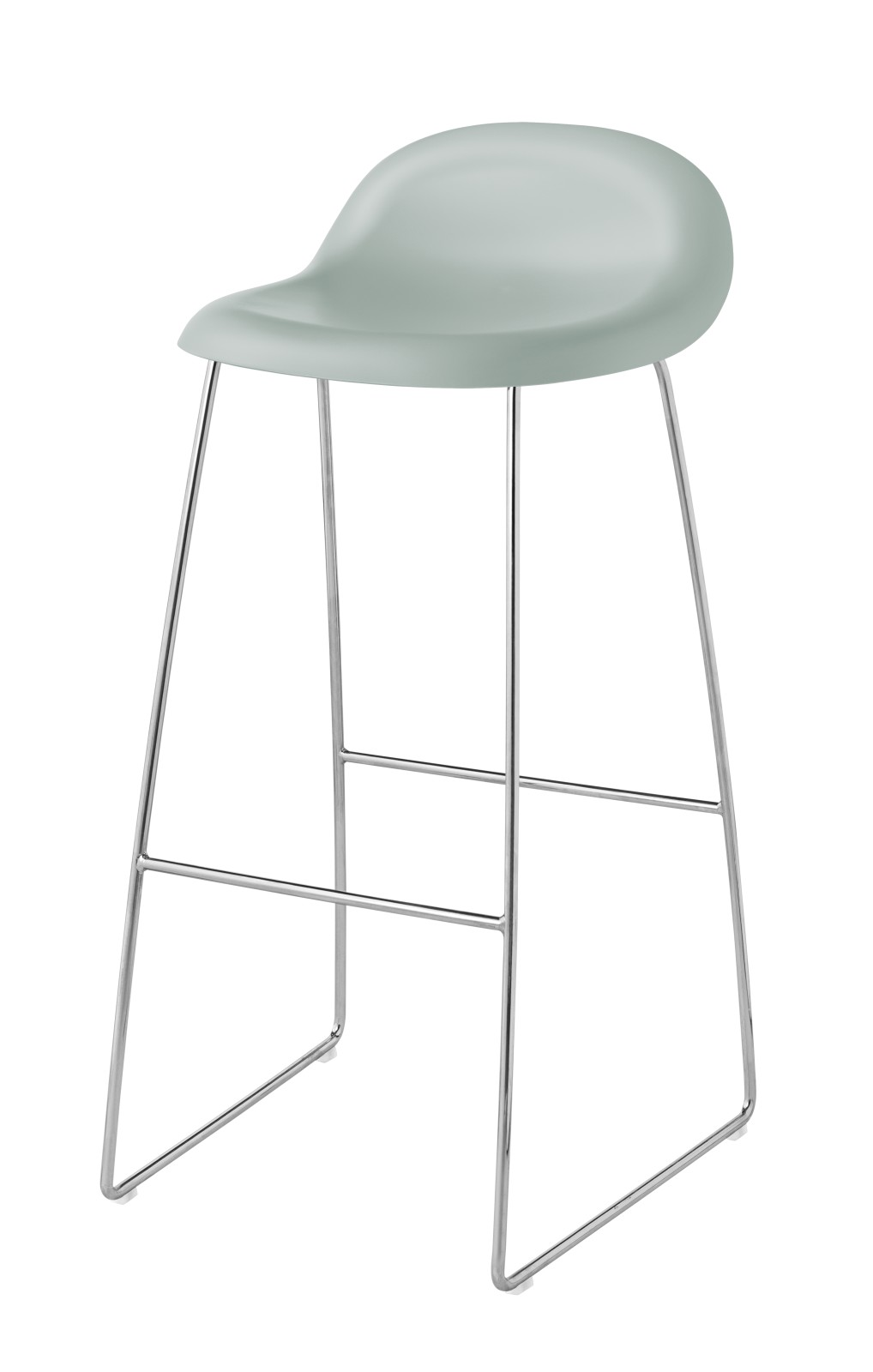 3D Bar Stool - Un-Upholstered, Sledge Base Gubi HiRek Nightfall Blue, Gubi Metal Chrome, Felt Glides