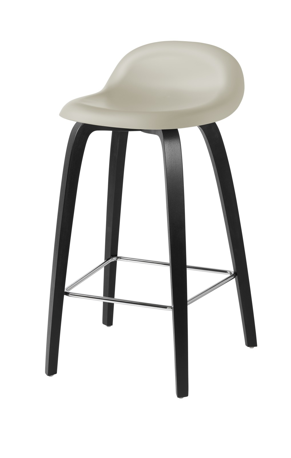 3D Counter Stool - Un-Upholstered, Wood Base Gubi HiRek Moon Grey, Gubi Wood Black Stained Beech, Gu