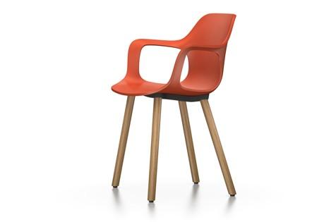 HAL Armchair Wood 65 orange, 04 glides for carpet, Natural oak with protective varnish