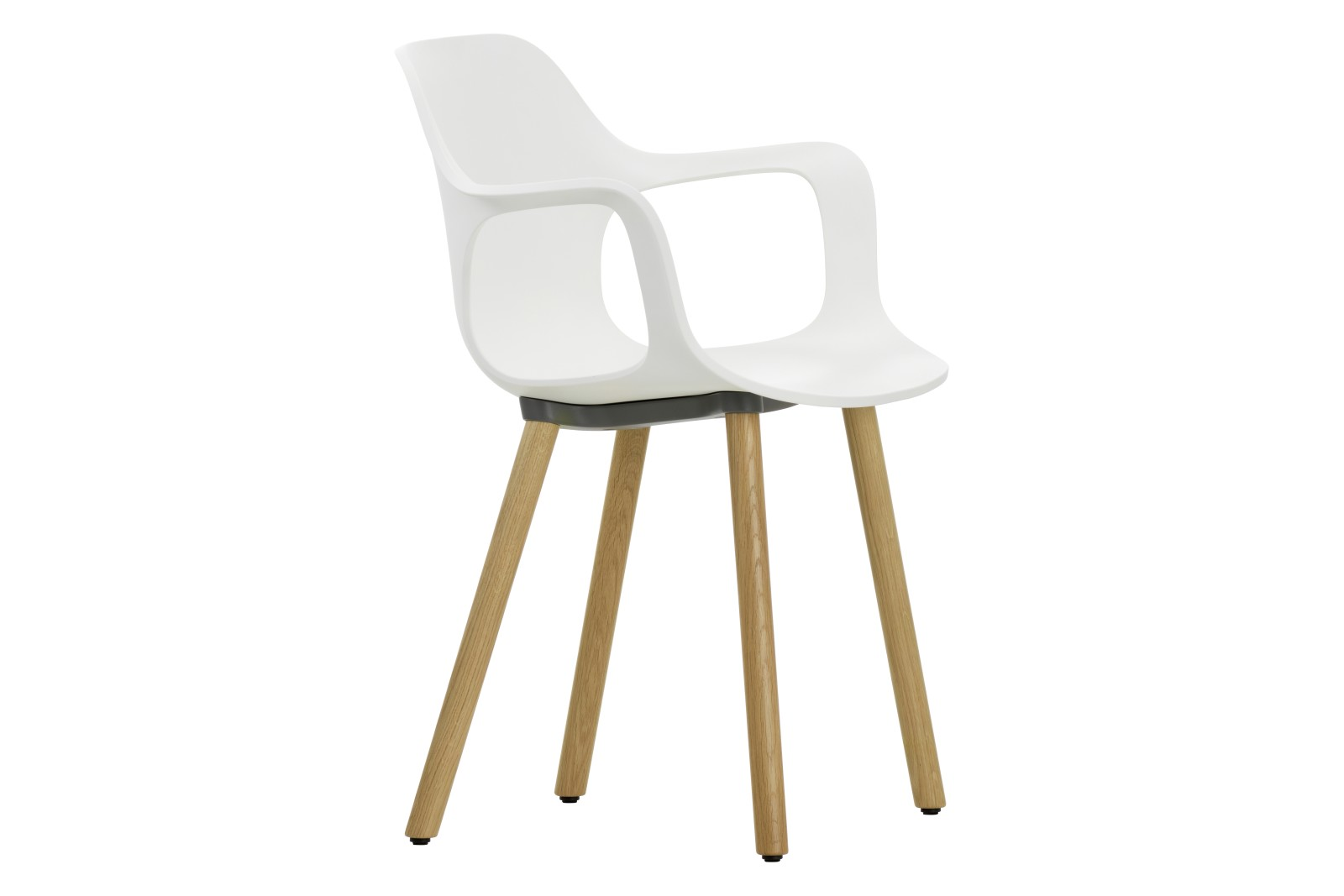 HAL Wood Base Armchair 04 white, 04 glides for carpet, Natural oak with protective varnish