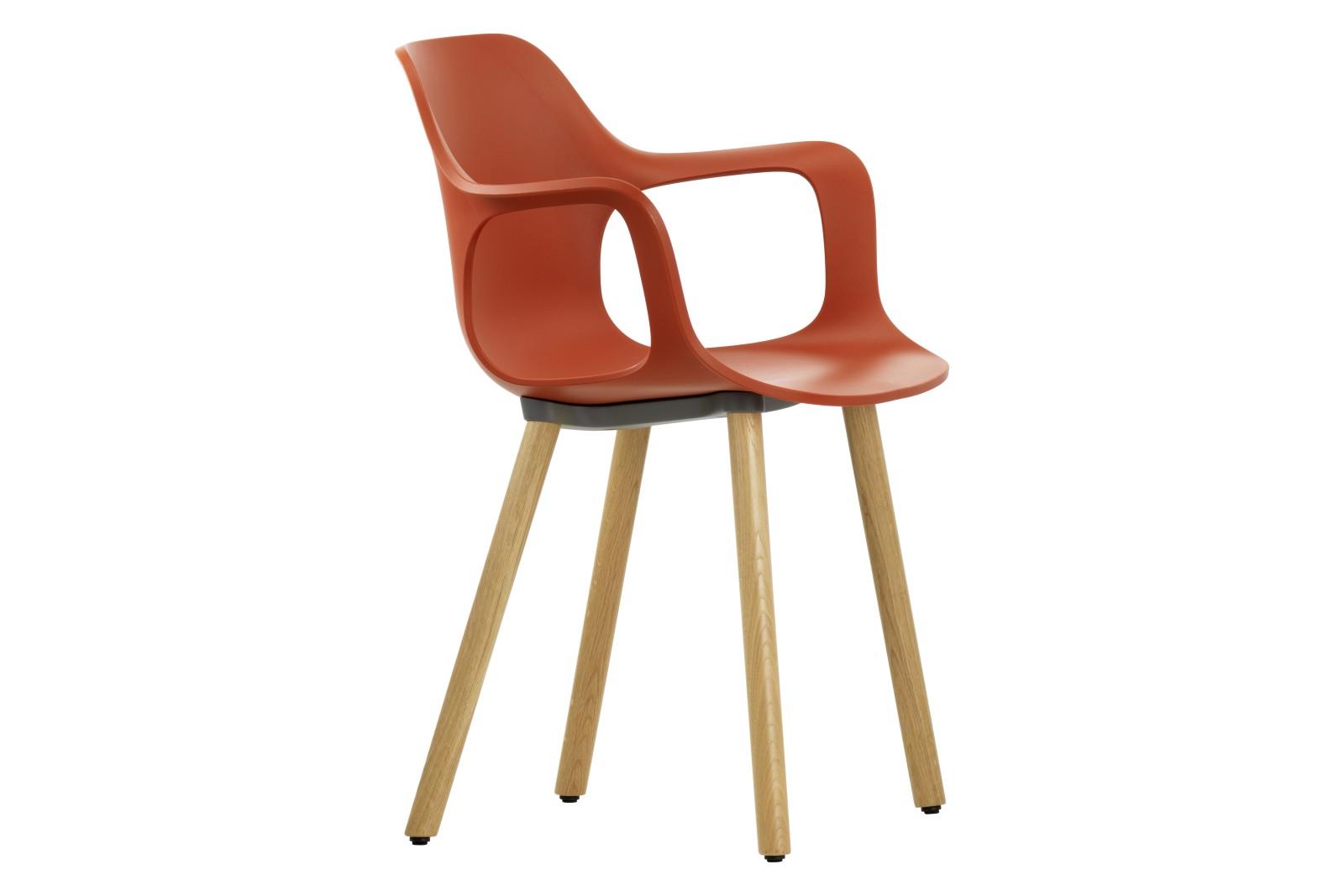 HAL Wood Base Armchair 29 brick, 04 glides for carpet, Natural oak with protective varnish