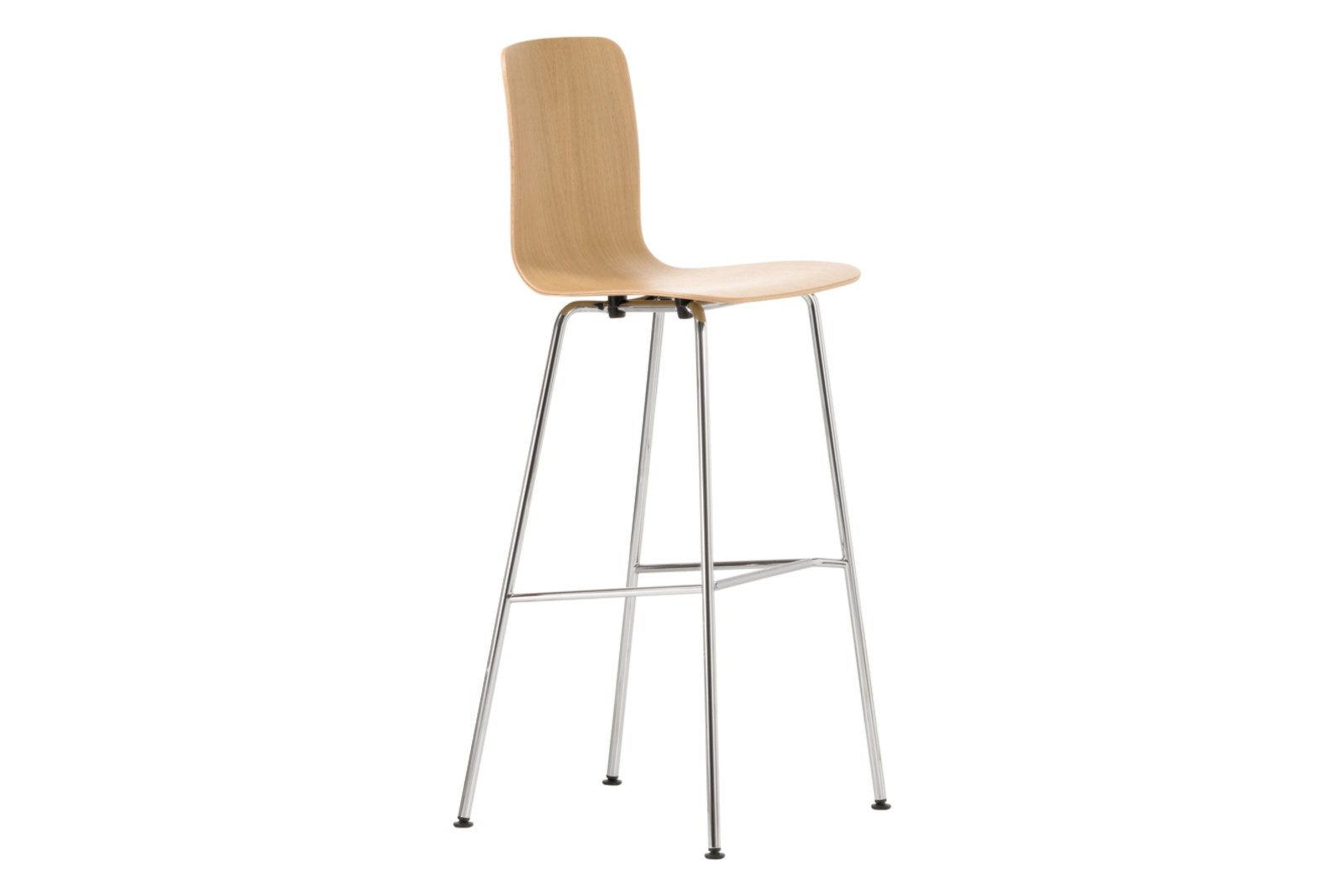 HAL High Ply Stool natural oak with protective varnish, 04 glides for carpet, 04 white