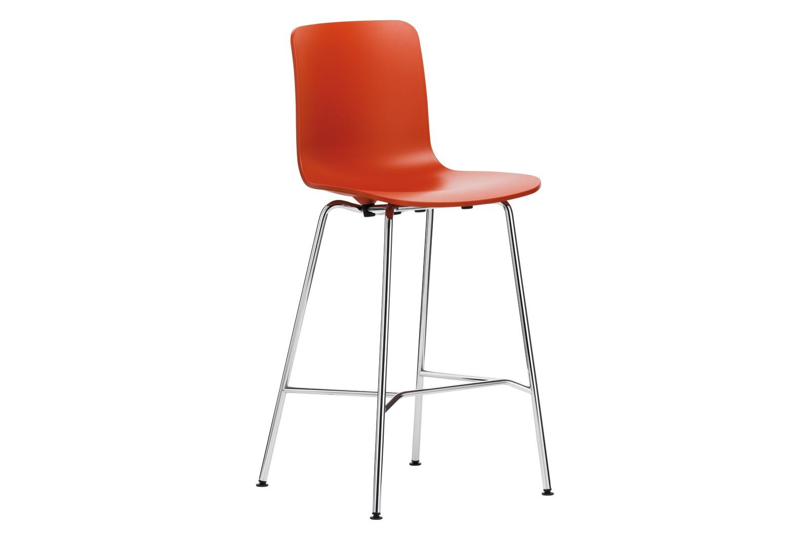 HAL Stool Medium 65 orange, 04 glides for carpet, 30 basic dark
