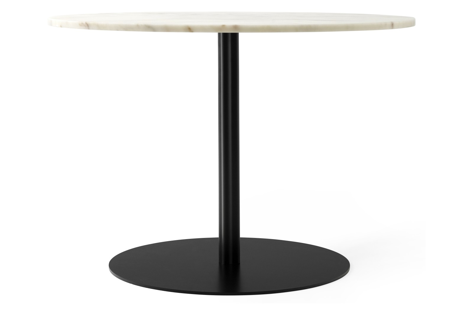 Harbour Column Dining Table, Ø105 cm Off White Marble Tabletop with Black base